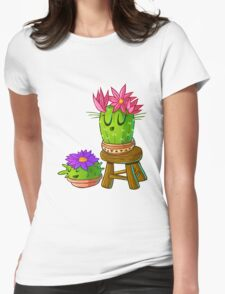 Cute cactus on stool Womens Fitted T-Shirt