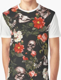 Skull and Floral Pattern Graphic T-Shirt