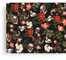 Skull and Floral Pattern Canvas Print