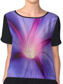 Close Up of A Morning Glory Purple and Pink Flower Chiffon Top