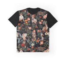 Floral and Cats Pattern Graphic T-Shirt