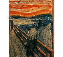 The Scream, Edvard Munch, Man at bridge holding head with hands and screaming. on BLACK Photographic Print