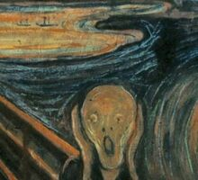 The Scream, Edvard Munch, Man at bridge holding head with hands and screaming. on BLACK Sticker