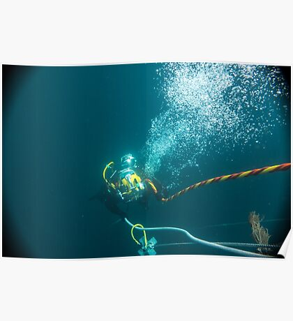 Diver on shot rope reached lazy shot! Poster