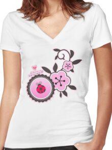 Miraculous Ladybug / Marinette Dupain-Cheng - Pink polka dot flower design Women's Fitted V-Neck T-Shirt