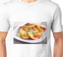 Slices of stewed potatoes and peppers on sackcloth  Unisex T-Shirt