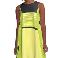 stripes swirls black sage and yellow A-Line Dress