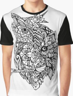 Henna Owl Pattern Graphic T-Shirt