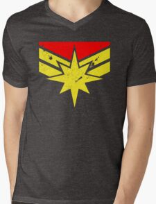 Distressed Super Heroine Mens V-Neck T-Shirt