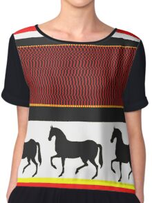 horses black white and red Chiffon Top