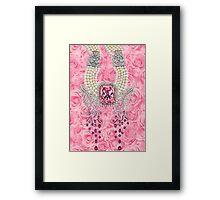 Barbie Pink Diamond Rose Pearls Print Framed Print