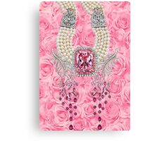Barbie Pink Diamond Rose Pearls Print Canvas Print