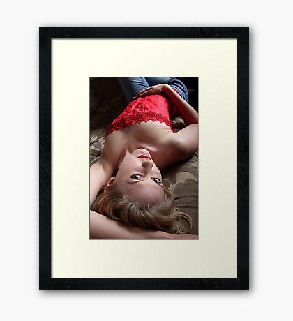 Sexy Blond Lying Framed Print