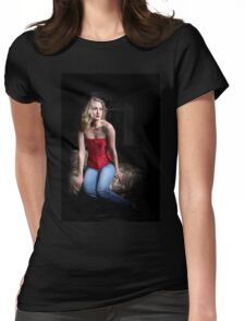 Sexy Blond Sitting Womens Fitted T-Shirt