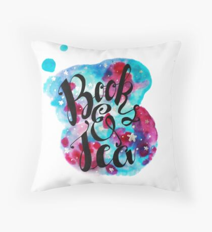 Books and Tea - Watercolor Throw Pillow