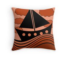Boat - red Throw Pillow