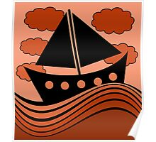 Boat - red Poster