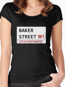 Baker Street Sign Women's Fitted Scoop T-Shirt