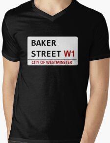 Baker Street Sign Mens V-Neck T-Shirt