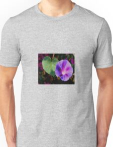 Beautiful Single Morning Glory Flower and Leaf Unisex T-Shirt