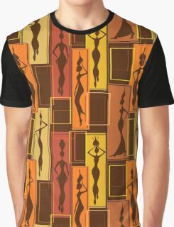 African Water Girl Pattern Graphic T-Shirt