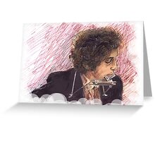 BOB DYLAN PLAYING HARMONICA Greeting Card