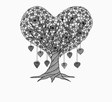 Tree of Hearts in Black and White Unisex T-Shirt