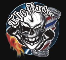 Barber Skull with Flaming Razor T-Shirt