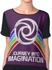 Journey Into Imagination Distressed Logo in Vintage Retro Style Chiffon Top