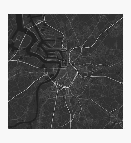 Antwerp, Belgium Map. (White on black) Photographic Print