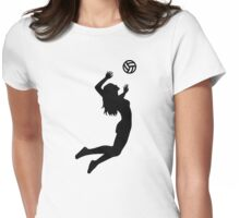 Volleyball jumping girl woman Womens Fitted T-Shirt