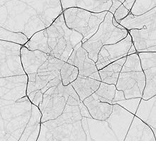 Brussels, Belgium Map. (Black on white) by Graphical-Maps