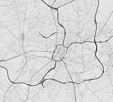 Charleroi, Belgium Map. (Black on white) by Graphical-Maps