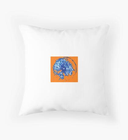 Fruit stamps on orange background Throw Pillow