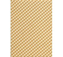 White and Brown Checkered Tablecloth Fabric Design Photographic Print
