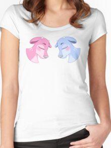 Blue & Pink Deer Women's Fitted Scoop T-Shirt