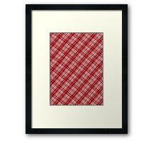 White and Red Plaid Diagonal Fabric Design Framed Print
