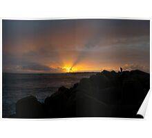 Sunset at Praia da Barra Aveiro Portugal Poster