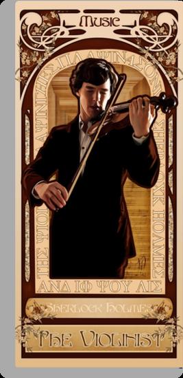 Art Nouveau Sherlock: The Violinist by nero749