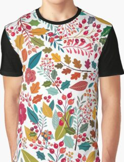Autumn Theme Flowers Leafs Graphic T-Shirt