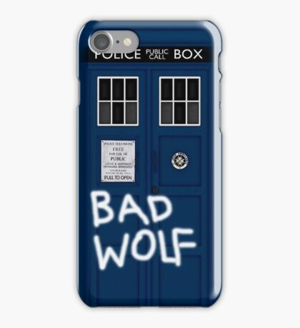 Police Public Call Box (w/ Bad Wolf) iPhone Case/Skin