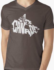 Canada White Mens V-Neck T-Shirt