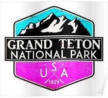 GRAND TETON NATIONAL PARK WYOMING 1929 HIKING CAMPING CLIMBING MOUNTAINS PINK Poster