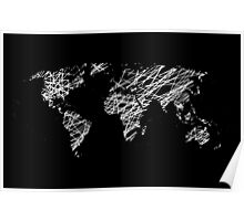 Invert scribble world map Poster