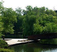 Bridge over pond by Jsrosephotos