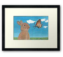 Mr Rabbit Finds a Butterfly Framed Print