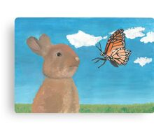 Mr Rabbit Finds a Butterfly Canvas Print