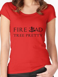 Fire Bad Tree Pretty (Dark) Women's Fitted Scoop T-Shirt