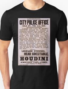 Performing Arts Posters Houdini appears at the Empire Theatre every evening this week 2040 Unisex T-Shirt