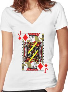 JACK OF DIAMONDS (COLOR) Women's Fitted V-Neck T-Shirt